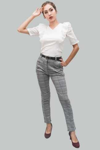 pantalón cintura cuadros vichy