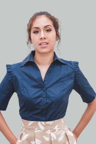 Blusa azul mangas bobos