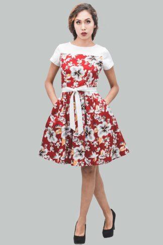 Vestido rojo flores blanco corte A