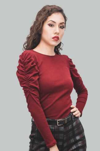 Sweater abullonada burgundy
