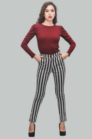 Pantalón a la cintura de rayas