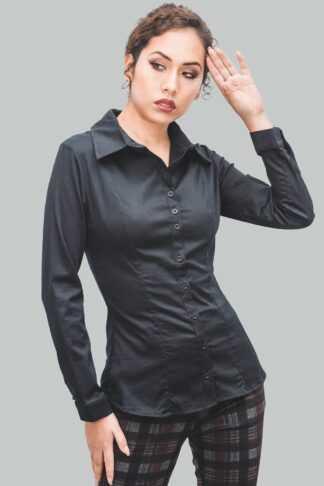 camisa negro de mujer
